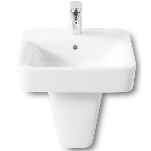 Roca Senso Square Basin With Semi Pedestal - 450mm - 1 Tap Hole - White
